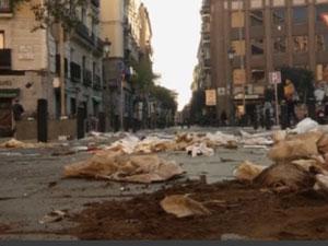 Завалы мусора на улицах Мадрида