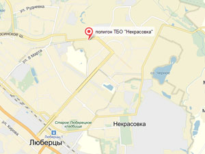 Полигон ТБО Некрасовка на карте Яндекса